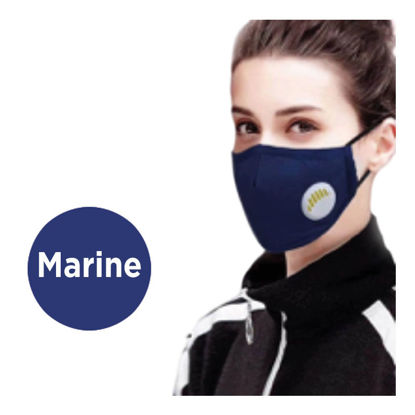 Picture of REUSABLE FACE MASK WITH VALVE AND FILTER - NAVY